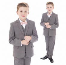 Boys Light Grey 5 Piece Tailored Jacket Bow Tie Suit